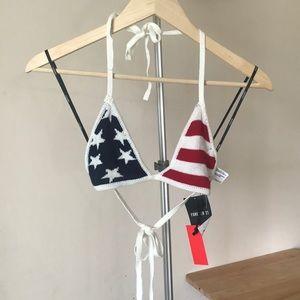 American flag knit triangle bikini / bra